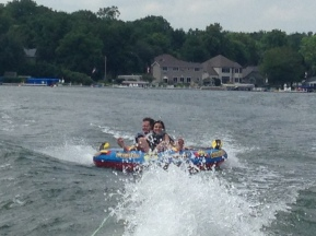 Diva and Big T making a splash at Lake Wawasee, Indiana.